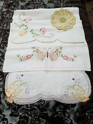 Vintage Antique Table Runner Crochet Needlepoint Embroidered Lot of 3 Handmade