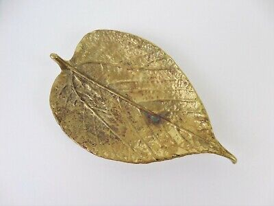 Vintage Virginia Metal Crafters Brass Mulberry Leaf Dish CW3-27 Copyright 1948
