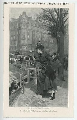 Antique Victorian French Girl Woman Horse Carriage Carpenter Miniature Print
