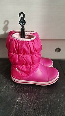 Crocs Girls Candy Pink Winter Puff Warm Lined Insulated Snow Boots - Size 12
