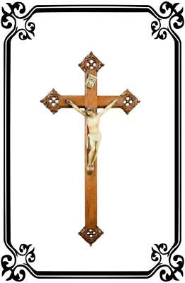 French Antique Large Hand Carved Wood Large Wall Cross Crucifix  Painted Plaster