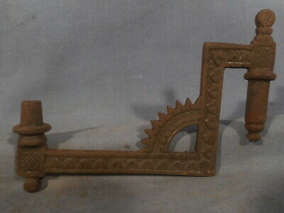 Primitive Cast Iron Oil Lamp Wall Sconce Brackets Swing Arm Antique Vtg