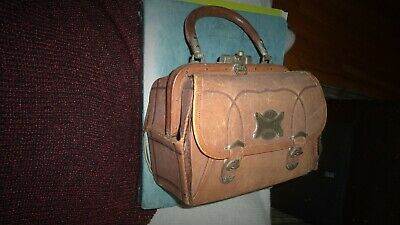 Antique Brown Leather Doctor Bag- Red Leather Lining- Pockets- Hardware 1900's