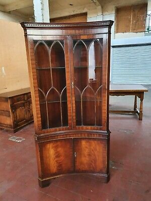 Bevan Funnell Reprodux Flamed Mahogany Concave Corner Display Cabinet