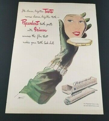 Vintage Pepsodent Tooth Paste Print Ad 14 x 10