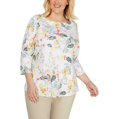 NWT Charter Club Women's White Combo Floral Boat Neck 3/4 Sleeve Top Plus Sizes