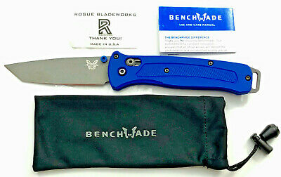 Benchmade (Rogue Bladeworks Scales + Bailout 537GY Blade) Blue G10; Glue Residue