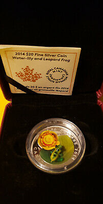 2014 RCM Water-lily and Leopard Frog - Murano Venetian Glass Silver Coin