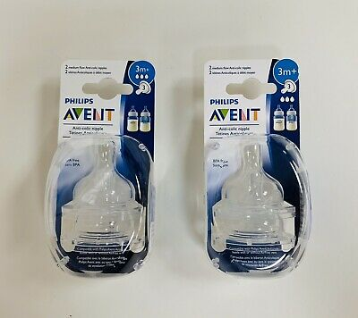NEW Clear Philips AVENT Anti-Colic Nipple, Medium Flow 3+ Months 4 Pack BPA FREE