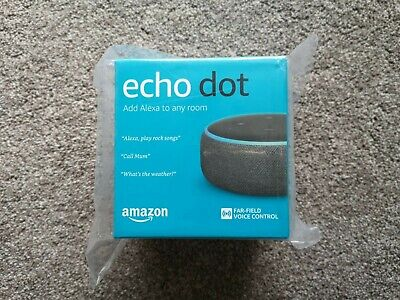 Amazon Echo Dot (3rd Generation) Charcoal Fabric Black Alexa Smart Speaker NEW