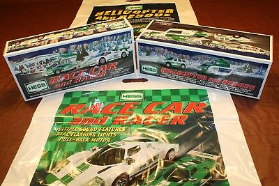 2009 Hess Race Car + 2012 Hess Helicopter Truck  __ 100% Mint-in-Box from case