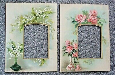 2 X Antique Victorian Photo Mounts, Rose And Lily Of The Valley
