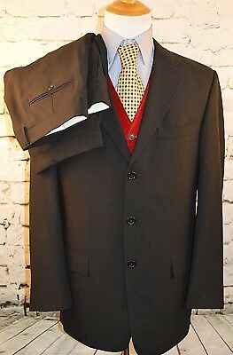Tallia Uomo Men's Suit 3 Button Up Black 2 Piece 100% Worsted Wool Size 42 Long