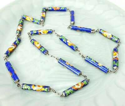 ATQ Chinese Export Blue Floral Cloisonne Hidden Clasp Enamel Tube Link Necklace
