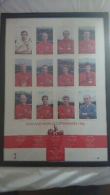 Geoff Hurst, Martin Peters and Gordon Banks autographed montage World Cup 1966