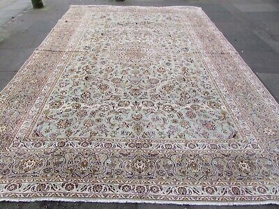 Vintage Hand Made Traditional Rugs Oriental Wool Green Large Carpet 413x286cm