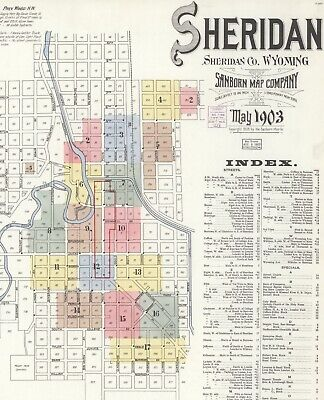 Sheridan, Wyoming~Sanborn Map© sheets~17 maps on CD  made in 1907 ~color