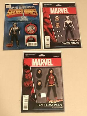 3 action figure variant covers - Spider-Woman, Spider-Gwen & Lady Thor