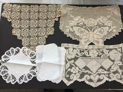 6 vintage doilies crocheted white ecru sofa antimacassar butterfly crafts
