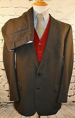 Stafford Mens 2 Piece Gray Suit 2 Button Suit Wool Polyester Blend Size 44 Long