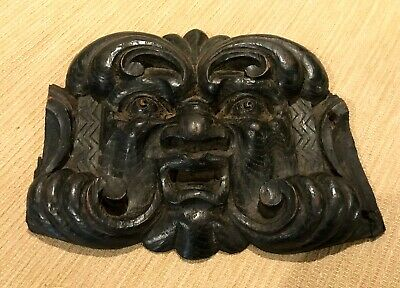 RARE Antique Architectural Salvage Wood Carved Face Victorian European 1800's