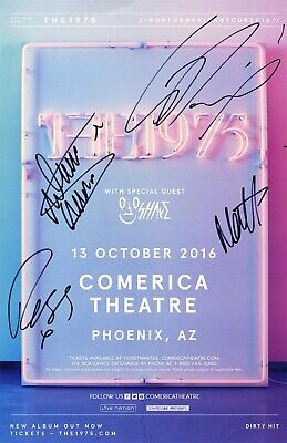 THE 1975 authentic Autographed band Signed X4 Concert TOUR POSTER Matthew Healy