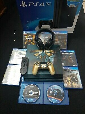 Sony PlayStation 4 PS4 Pro 1TB Console w/ skin 9 Games, PS Gold Head Set, Remote