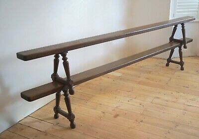 Pair of French Oak Benches Over 9ft Long Antique Vintage - Delivery Available
