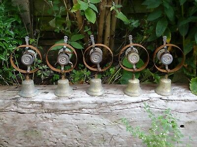 Set Of 5 Reclaimed Servants Maid Butler Bell Brass Bells Door Knobs Handles