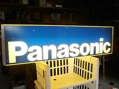 """Panasonic Lighted Advertising Sign Double Sided 42"""" X 10 Vintage 1980s Original"""