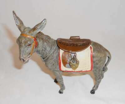 Antique German Lead Donkey Hinged Brown Saddle Penny Bank Niagara Falls