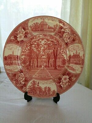 "Antique OLD English Staffordshire Ware Plate Red marked 9.8"" very collectible"