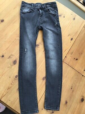 Boys Next Soft Grey / Black Skinny Jeans - Distressed Look - Age 12 - Excellent