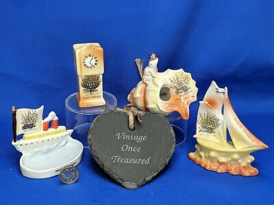 4 x LUCKY WHITE HEATHER Crested China * CLOCK, SHELL, YACHT, BOAT * Mixed Towns