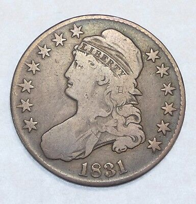 1831 Capped Bust Lettered Edge Half Dollar FINE Silver 50-Cents