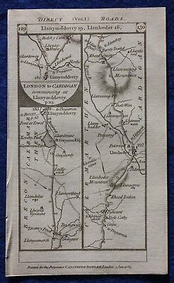 Original antique road map WALES, BRECON, CARMARTHEN, CARDIGAN, Paterson, 1785