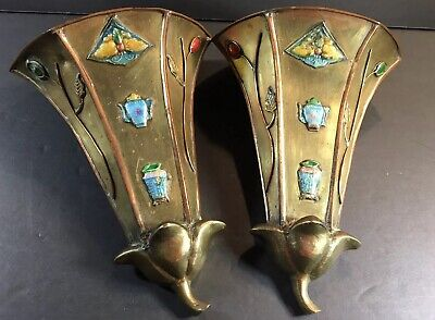Antique Vintage Chinese bronze Enamel cloisonne WALL POCKET butterfly PAIR