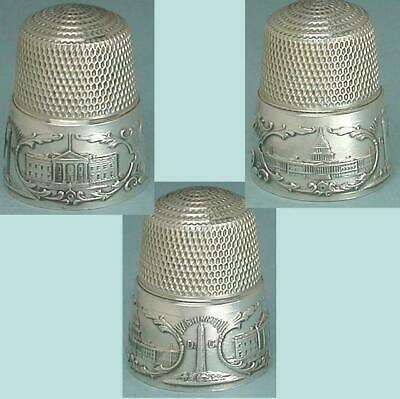 Antique Sterling Silver Washington DC Thimble by Simons Brothers * Circa 1890s