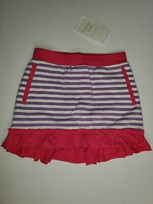 Nwt Girls Garnet Hill Green Cotton Skirt With Shorts Size 6 Striped Very Cute