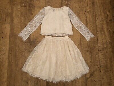 Monsoon ~ Girls Cream Lace Skirt & Top Special Occasion Outfit ~ Age 7 Years
