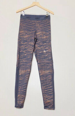 Nike Victory Metallic Purple Training Leggings Size Small