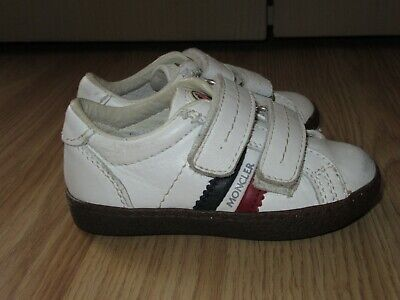 Genuine Boys Girls Unisex MONCLER White Leather Trainers UK 4.5 / EU 21 GREAT!