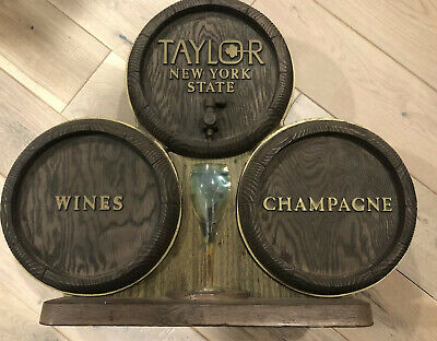 Vintage TAYLOR New York State Wines and Champagnes Glass Barrel Bar Sign