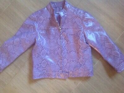 George Asda Girls Faux Leather Purple Snake Skin Jacket Age 4/5 Yrs Read