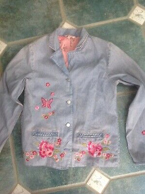 Monsoon Girls Sequin Applique Denim Jacket Age 10/12 Mark On Sleeve