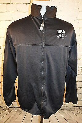 Olympia Committee USA Black Logo Front Full Zip Up Jacket Size XL Extra Large