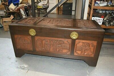 Vintage Antique Chinese Rosewood Hand Carved Camphor Interior Trunk J.l.george