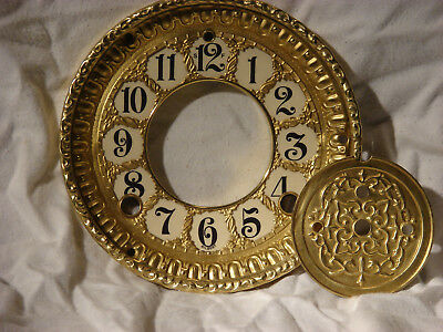Antique Gilbert Open Escapement Clock Dial, Centerplate, and Glass Bezel