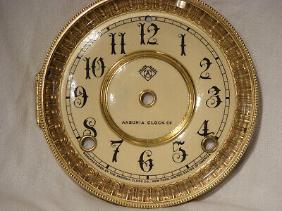Antique Ansonia Shelf Clock Dial / Beveled Glass Bezel