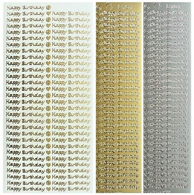 FINE HAPPY BIRTHDAY Peel Off Stickers Sentiments Card Making Gold or Silver